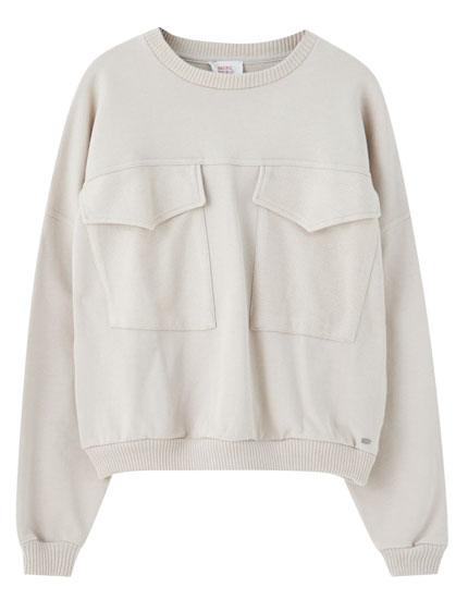 Sweatshirt com bolsos de placket