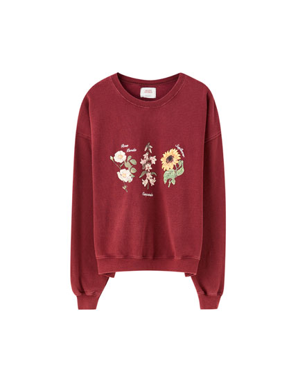 Botanical embroidered sweatshirt