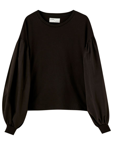 Black puff sleeve sweatshirt