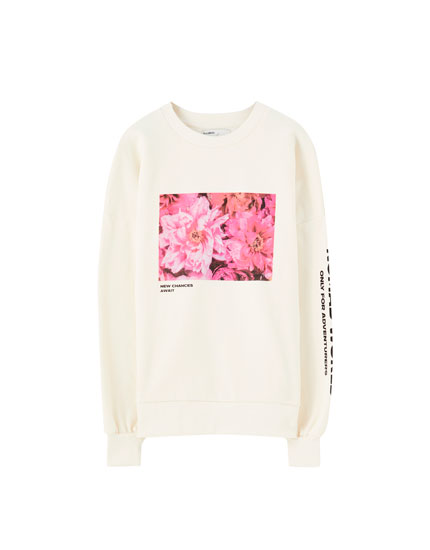 Sweatshirt with floral illustration