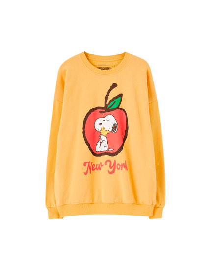 Yellow Snoopy apple sweatshirt