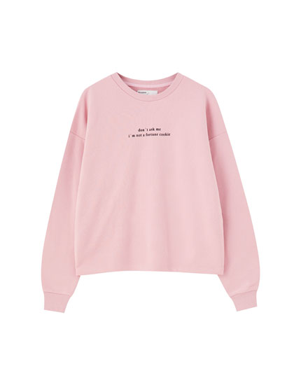 Puff sleeve sweatshirt with slogan