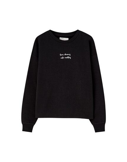 Puff sleeve sweatshirt with slogan