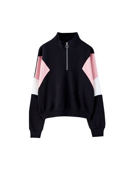 Colour block sweatshirt with zip