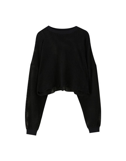 Sweater cropped com rendilhados