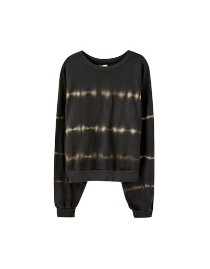 Sort sweatshirt med batik
