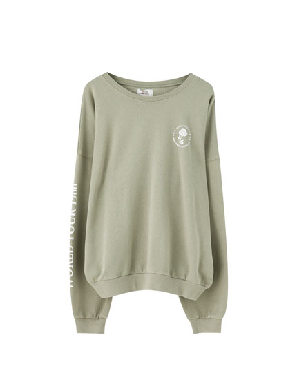 Khaki contrast illustration sweatshirt