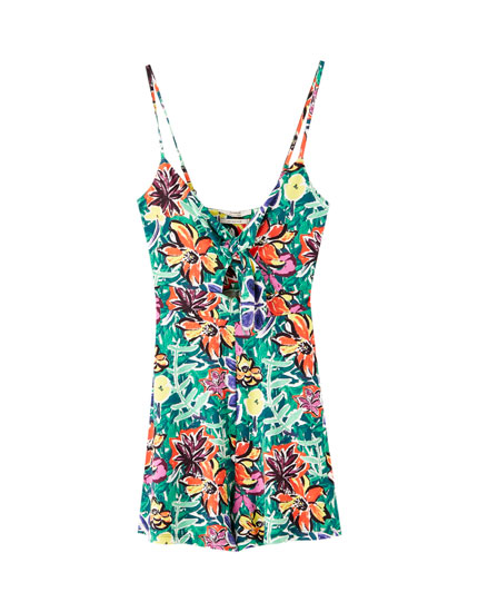 Playsuit with bust knot