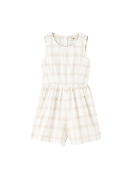 Beige check playsuit