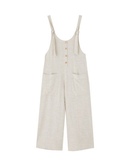 Rustic dungarees with front buttons