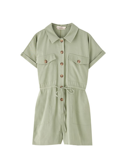 Khaki button-up playsuit