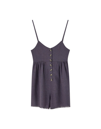 Strappy playsuit with frayed hems