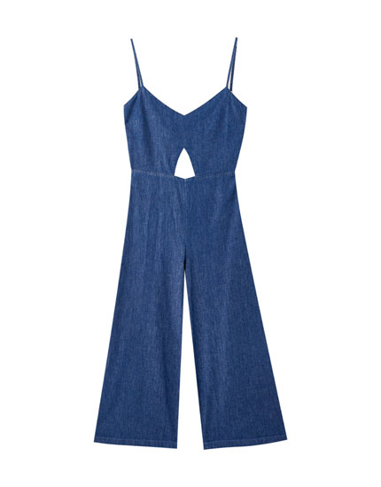 Denim jumpsuit with knot