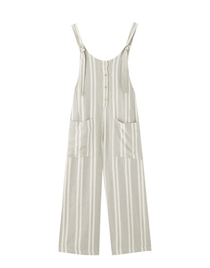 Striped culotte dungarees
