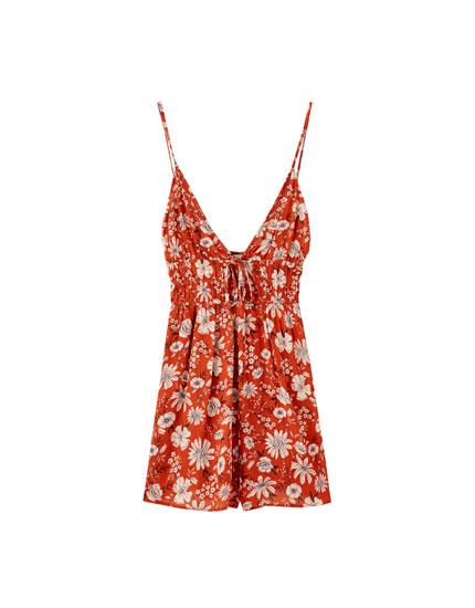 Κοντή φλοράλ ολόσωμη φόρμα με τιράντες