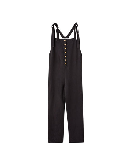 Jumpsuit with wooden buttons