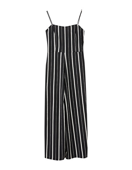 Striped jumpsuit with straps