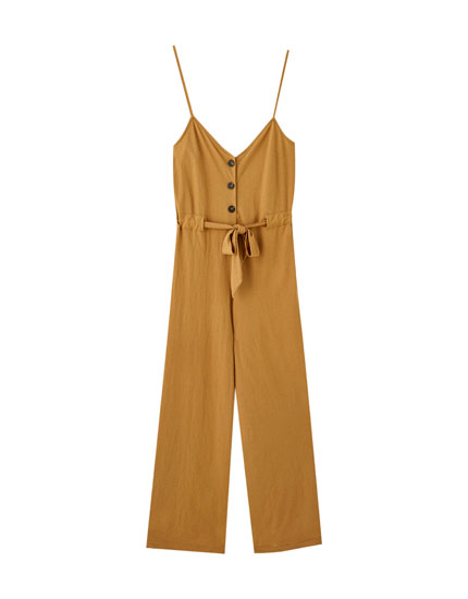Strappy jumpsuit with belt