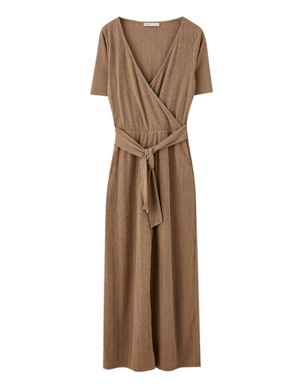 Culotte jumpsuit with tie belt