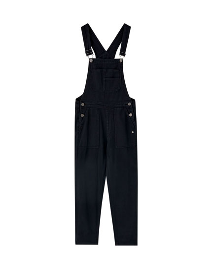 Long faded cargo dungarees
