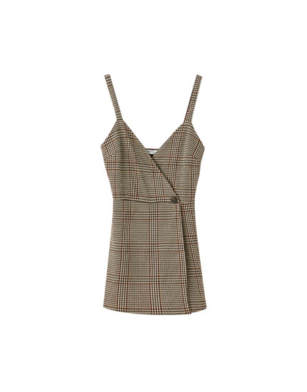 Checked wraparound pinafore dress