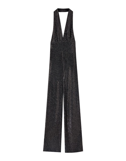 Sequinned halter neck jumpsuit