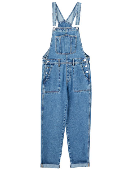 Long denim dungarees with patch pockets
