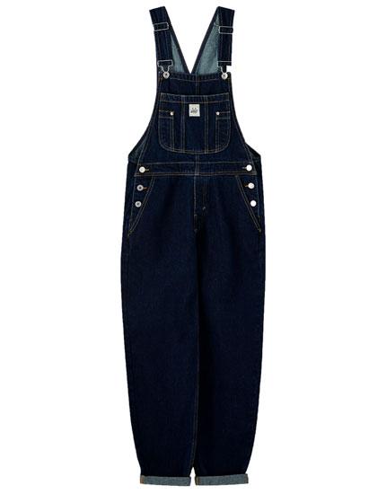Salopette longue jean bleu foncé