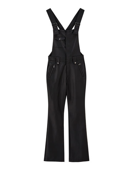 Faux leather long dungarees
