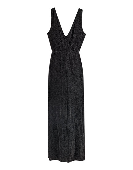 Shimmer wrap-style jumpsuit