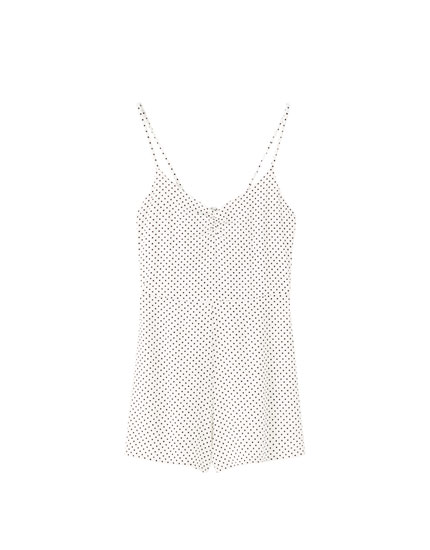 Strappy polka dot playsuit