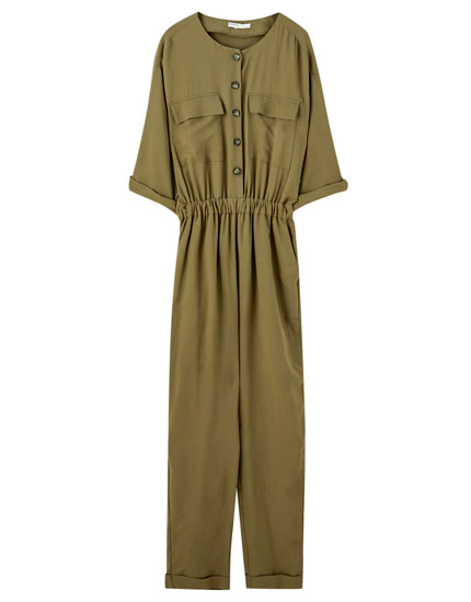Khaki button-up jumpsuit