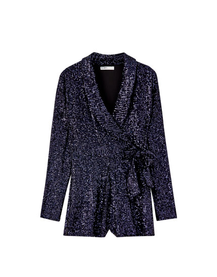 Sequinned wrap playsuit