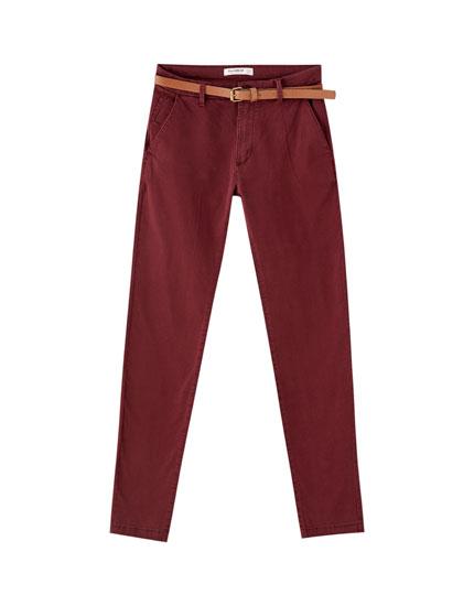 Pantalon chino basique couleur