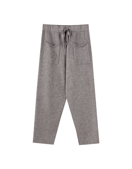 Knit jogging trousers with pockets
