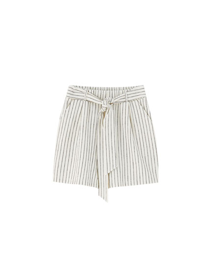 Striped Bermuda shorts with tied belt