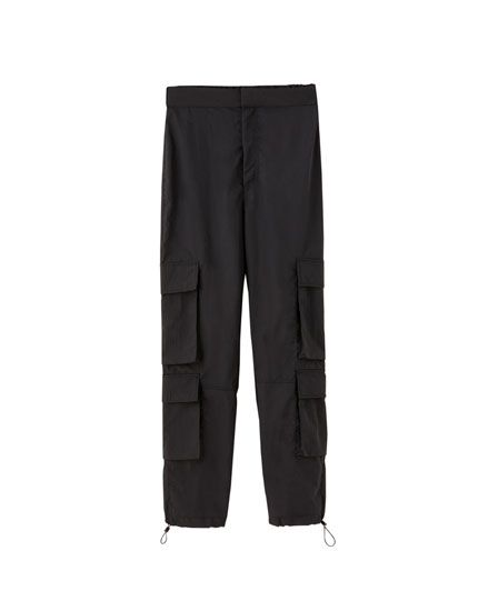 Double pocket nylon trousers