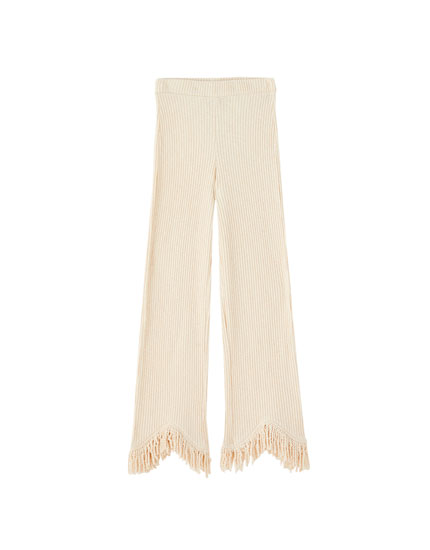 Ribbed trousers with fringed hems