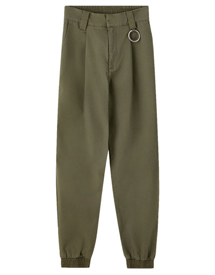 Pantalon cargo anneau taille