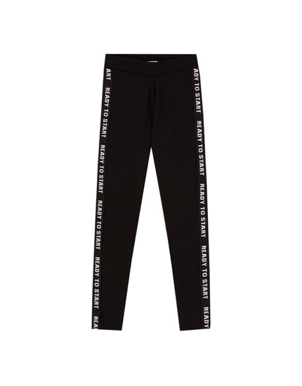 Black leggings with side slogans
