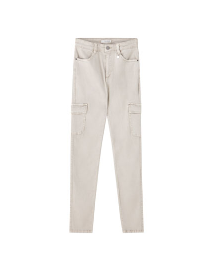 Low-rise skinny cargo trousers