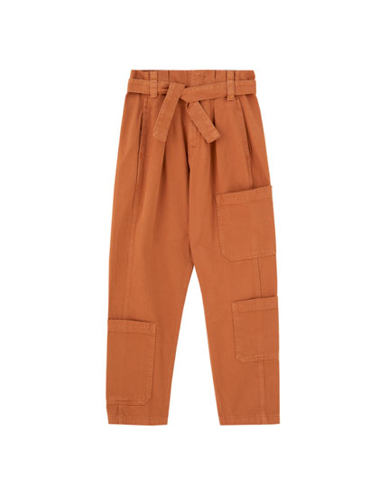 Tapered cargo trousers with belt