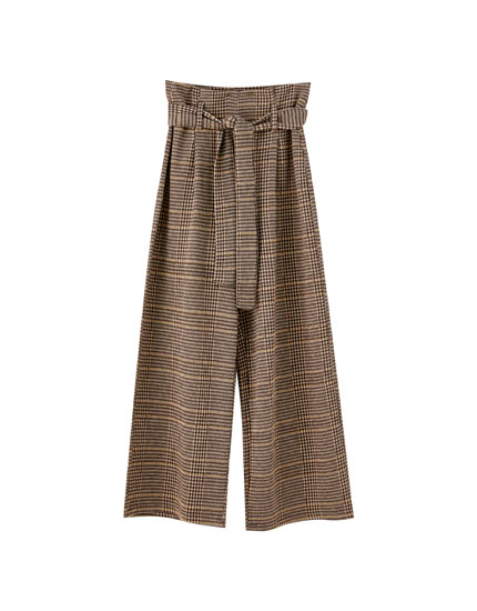 Belted paperbag-style culottes