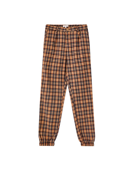 Checked tailored trousers with elastic hems
