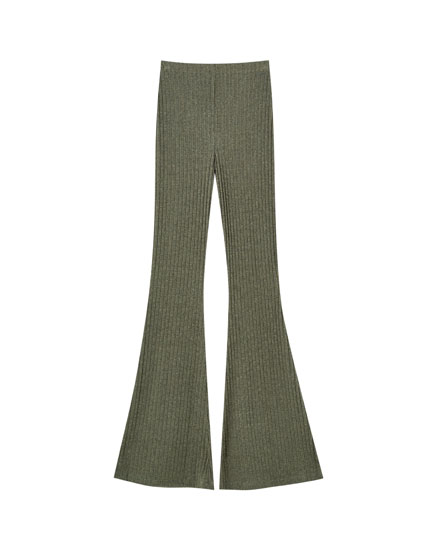 Flared trousers in khaki
