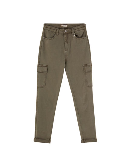 Skinny cargo trousers in khaki