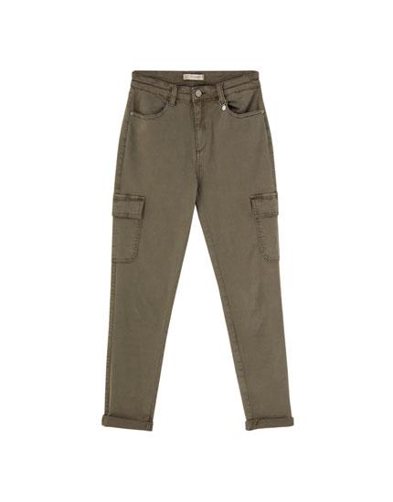 Pantalón cargo skinny caqui