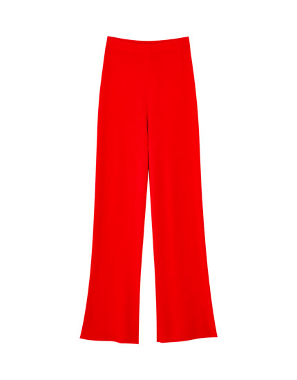 Wide-leg ribbed trousers in red