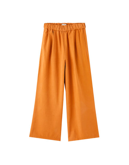 Pantalón culotte bajo ancho