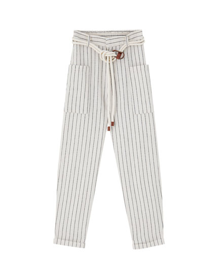 Striped rustic trousers with pockets